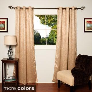 Lattice Faux Silk Thermal Blackout Grommet Top Curtain Panel Pair