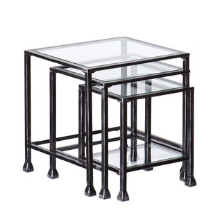 Upton Home Metal and Glass Nesting Table 3pc Set