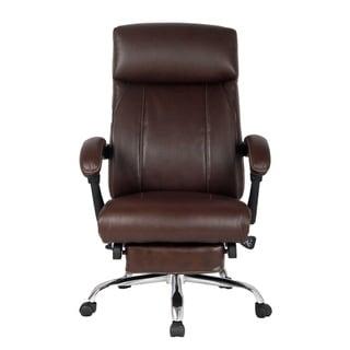 VIVA OFFICE High-back Ergonomic Brown Bonded Leather Swivel Recliner Napping Chair