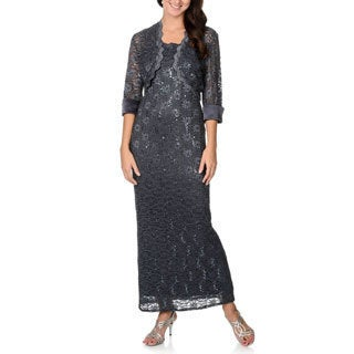 R & M Richards Women's Charcoal Sequined Lace Evening Dress and Jacket Set