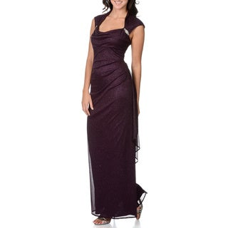 R & M Richards Women's Wine Glittery Evening Dress