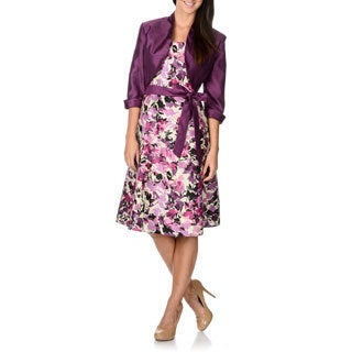R & M Richards Women's Plum Floral Print A-line Dress and Jacket Set