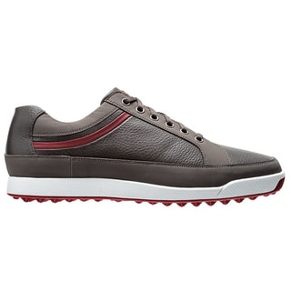 FootJoy Men's Contour Casual Spikeless Grey/Crimson Golf Shoes