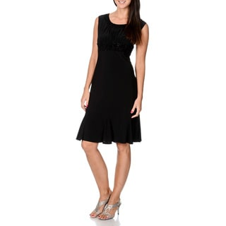 R & M Richards Women's Black Glitter-web Print Ruffle Dress and Jacket Set