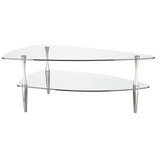 Tempered Glass Satin Chrome Coffee Table