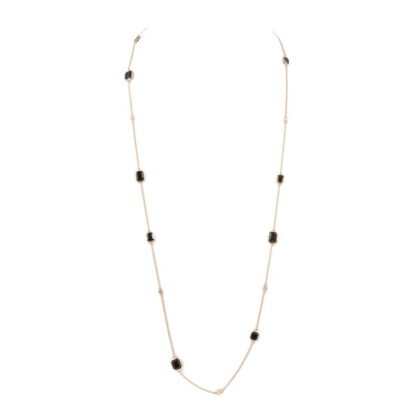 Ivanka Trump 18k Yellow Gold 1/3ct TDW Diamond and 16 1/10ct TGW Black Onyx Station Necklace