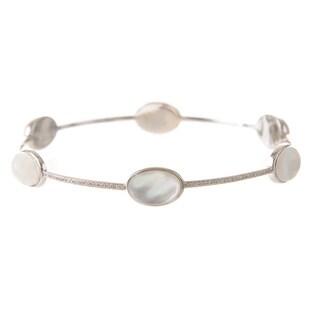 Ivanka Trump18k White Gold 'Bubble' 1/2ct TDW Diamond and 17 3/8ct TDW Quartz Crystal Bangle Bracelet