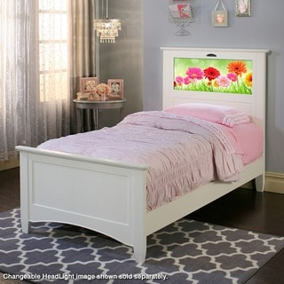 LightHeaded Beds Canterbury Satin White Twin Bed with Back-lit LED Headboard Imagery