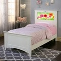 LightHeaded Beds Canterbury Satin White Twin Bed with Changeable Back-lit LED Headboard Imagery