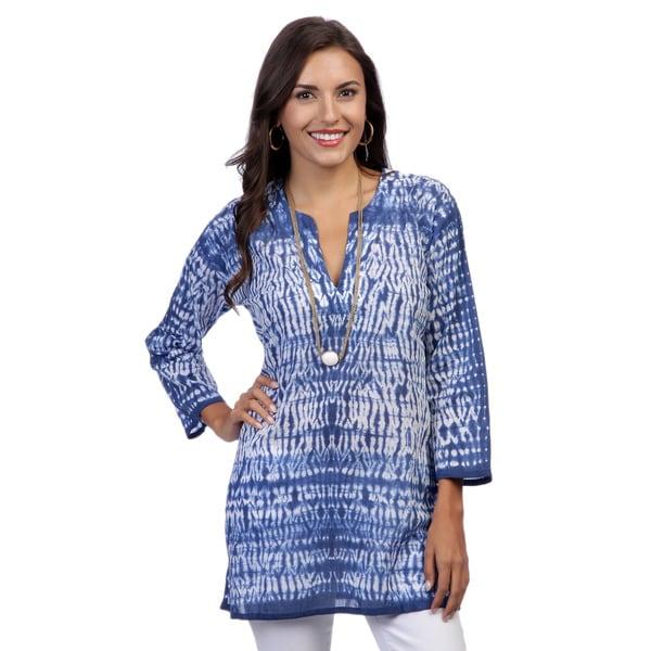 Women's Dark Blue/ White Tie-dye 3/4-sleeve Tunic (India)