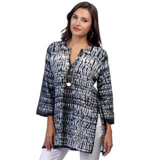 Women's Black/ White Tie-dye 3/4-sleeve Tunic (India)