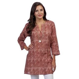 Women's Earthy Brown Batik Mid-length Tunic (India)