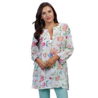 Women's Multicolor/ White Floral-print Tunic (India)