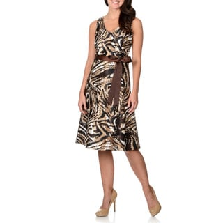R & M Richards Women's Brown Abstract Print A-line Dress and Jacket Set