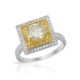 14K Two-tone Gold 2 2/5ct TDW Yellow and White Diamond Ring