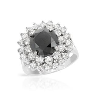 14k White Gold 5 1/3ct TDW Black and White Diamond Engagement Ring