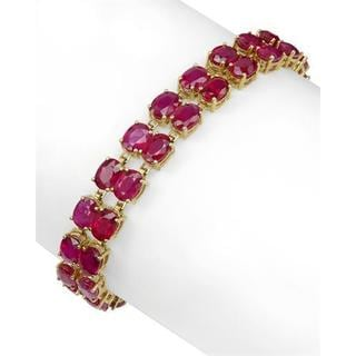 14k Yellow Gold Bracelet with 0.45ct TDW Diamonds and Rubies