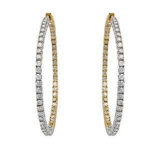 10k Two-tone Gold Hoops Earrings with 3ct TW Diamonds