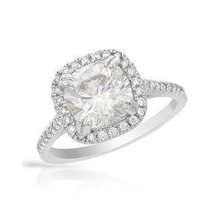 Ring with 2.25ct TW Genuine Diamonds and Moissanite 7.5x7.5 mm Crafted in 14K White Gold