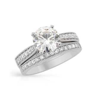 14K White Gold 1.83ct TW Diamond and Moissanite Ring