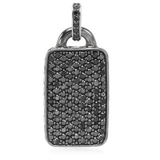 Hellmuth in Germany Sterling Silver 4ct TDW Black Diamond Tag Pendant