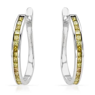 Hoops Earrings with 1/2ct TW Princess-cut Enhanced Yellow Diamonds in White Gold