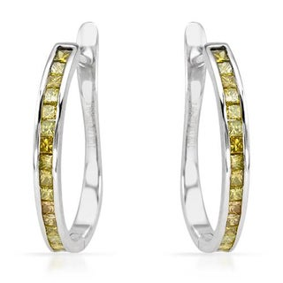 Hoops Earrings with 1/2ct TW Genuine Princess-cut Enhanced Yellow Diamonds in White Gold