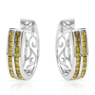 Hoops Earrings with 0.88ct TW Princess-cut Diamonds of White Gold