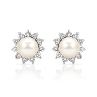 Earrings with Diamonds/ 70mmFreshwater Pearls in White Gold