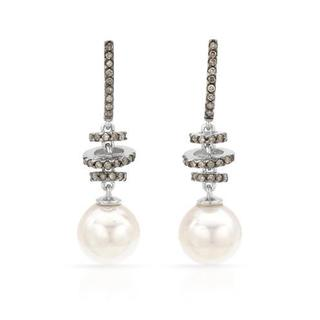 Earrings with Diamonds/ 80mmFreshwater Pearls 14K Two-tone Gold