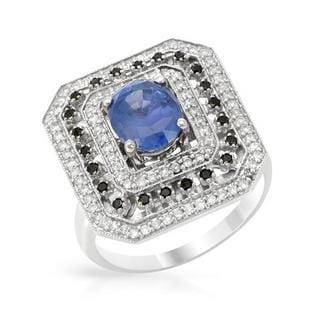 Ring with 2.95ct TW Diamonds and Sapphire in 18K White Gold