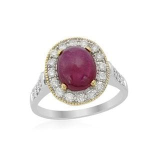 Cocktail Ring with 4.58ct TW Diamonds and Ruby of 14K Two-tone Gold