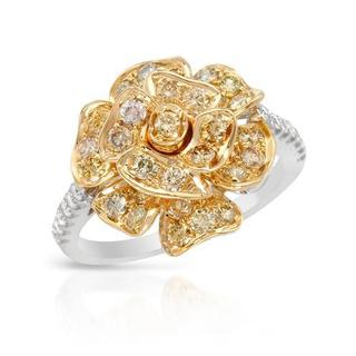 Ring with 1 1/4ct TW Natural Fancy Yellow Diamonds of 14K Two-tone Gold