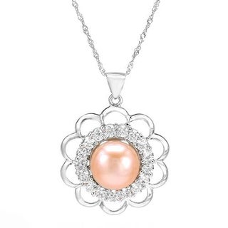 Necklace with 4.70ct TW Cubic Zirconia and 12.0mm Freshwater Pearl in 925 Sterling Silver