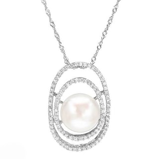Necklace with 2.05ct TW Cubic Zirconia and 12mm Freshwater Pearl in .925 Sterling Silver