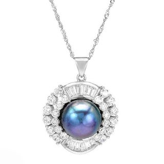 Necklace with 5.75ct TW Cubic Zirconia and 12.0mm Freshwater Pearl 925 Sterling Silver