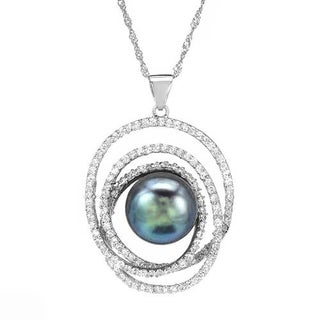 Necklace with 3.7ct TW Cubic Zirconia and 12mm Freshwater Pearl in .925 Sterling Silver