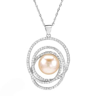Necklace with 3.65ct TW Cubic Zirconia and 12.0mm Freshwater Pearl in 925 Sterling Silver