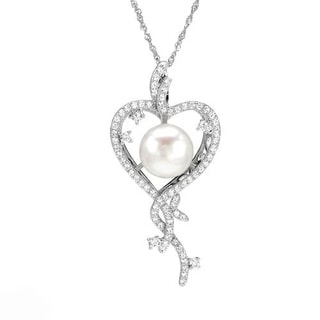 Heart Necklace with 3.80ct TW Cubic Zirconia and 12.0mm Freshwater Pearl of 925 Sterling Silver