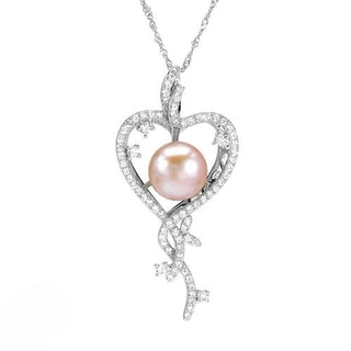 Heart Necklace with 3.80ct TW Cubic Zirconia and 12.0mm Freshwater Pearl 925 Sterling Silver