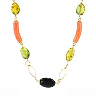 ENZO LIVERINO Necklace with 22.90ct TW Genuine Ambers, Corals and Onyxes 18K Yellow Gold