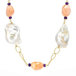 Enzo Liverino Necklace with 3ct TW Amethysts, Corals and Freshwater Pearls of 18K Yellow