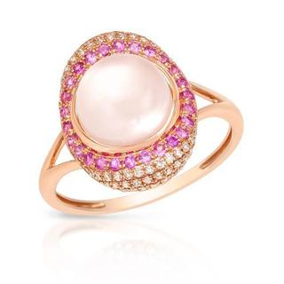 Vida Ring with 3.07ct TW Diamonds, Mother of pearl, Quartz and Sapphires in 14K Rose Gold