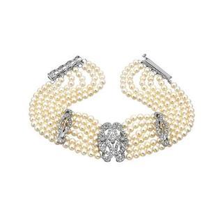 14K White Gold 1ct TDW Diamonds Freshwater Pearls Bracelet (3.5-4 mm)