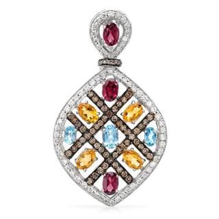 Pendant with 5.8ct TW Citrines, Diamonds, Garnets and Topazes of 18K Two-tone Gold