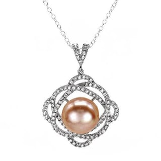 Necklace with 3.05ct TW Cubic Zirconia and 12.0mm Freshwater Pearl in 925 Sterling Silver