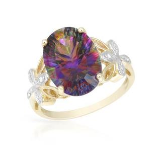Ring with 7.27ct TW Diamonds and Topaz in Yellow Gold