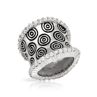 Ring with Cubic Zirconia in Black Enamel/ 925 Sterling Silver