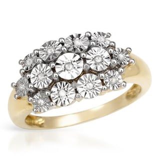 Ring with Diamonds in 14K/925 Gold-plated Silver