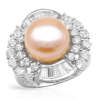 Ring with 3.95ct TW Cubic Zirconia and 12mm Freshwater Pearl in .925 Sterling Silver